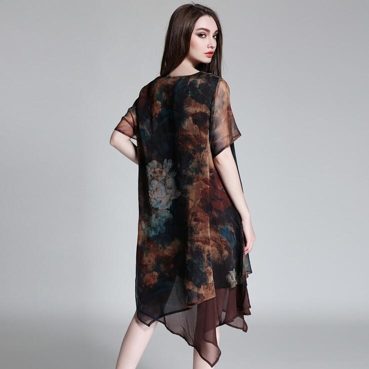 Ladies Chiffon red Print Plus Loose 3xl Color Coffee Wine Women Size For Big Dress Summer 2018 4xl Irregular Brown OSqtwWf