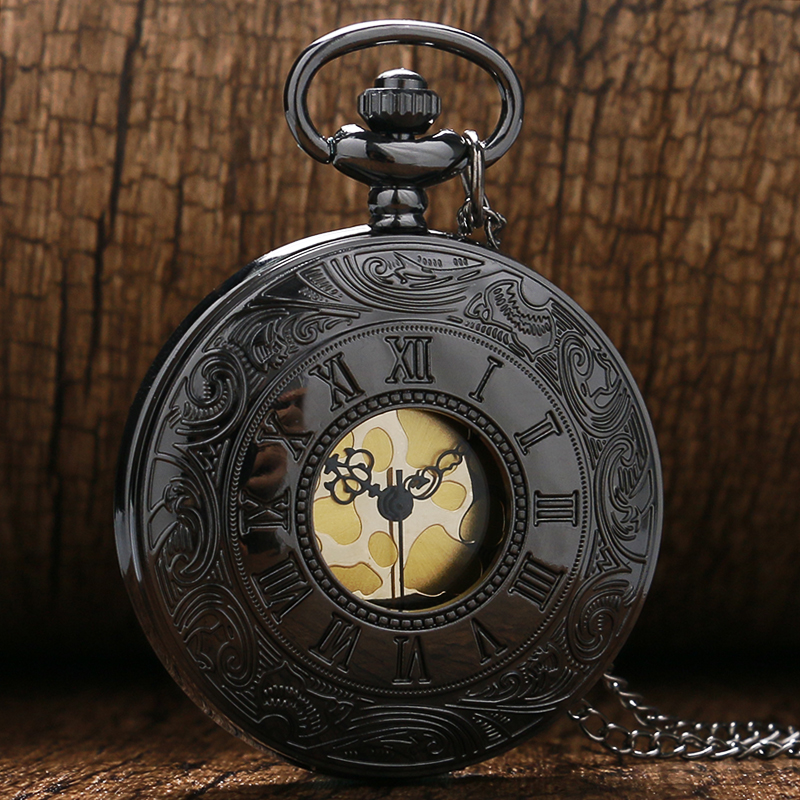 Black Hollow Roman Numerals Quartz Pendant Pocket Watch With Necklace Chain Free Shipping