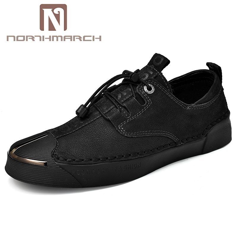 NORTHMARCH Men Casual Shoes Luxury Brand Genuine Leather Flat Shoes Fashion Designer Breathable Mens Shoes Leather Male Footwear blaibilton brand winter warm velvet high top men casual shoes luxury genuine leather male footwear fashion designer mens sd3599