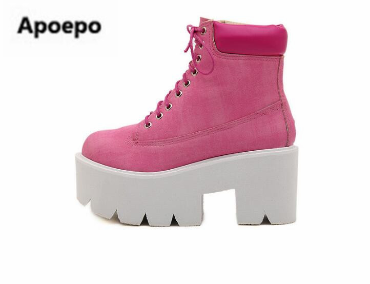 Apoepo brand women riding boots lace up Thick bottom shoes women high heels ankle boots for women red sliver ladies shoes mujer brand new hot sales women nude ankle boots red black buckle ladies riding spike shoes high heels emb08 plus big size 32 45 11
