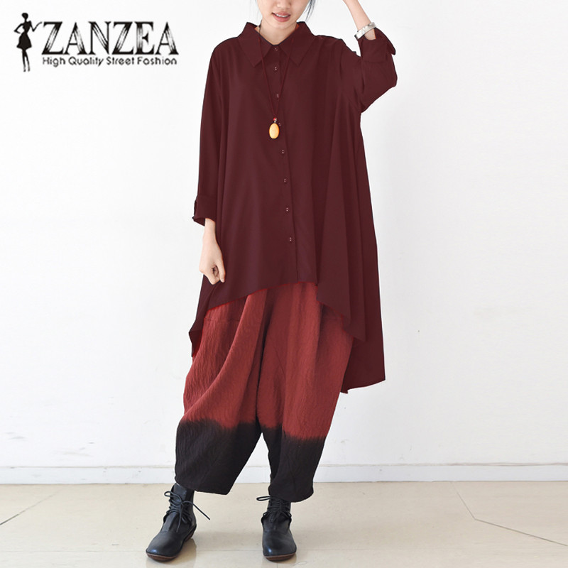 ZANZEA Long Sleeve Turn Down Neck Buttons Shirt Asymmetric Hem Solid Blusas Female Autumn Baggy Loose Casual OL Oversized Blouse
