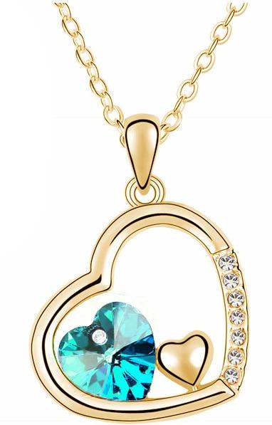 С фабрики Самая низкая цена GP Мода австрийский кристалл океана сердце ожерелье кулон Модные ювелирные изделия 83004 - Окраска металла: gold oceanblue