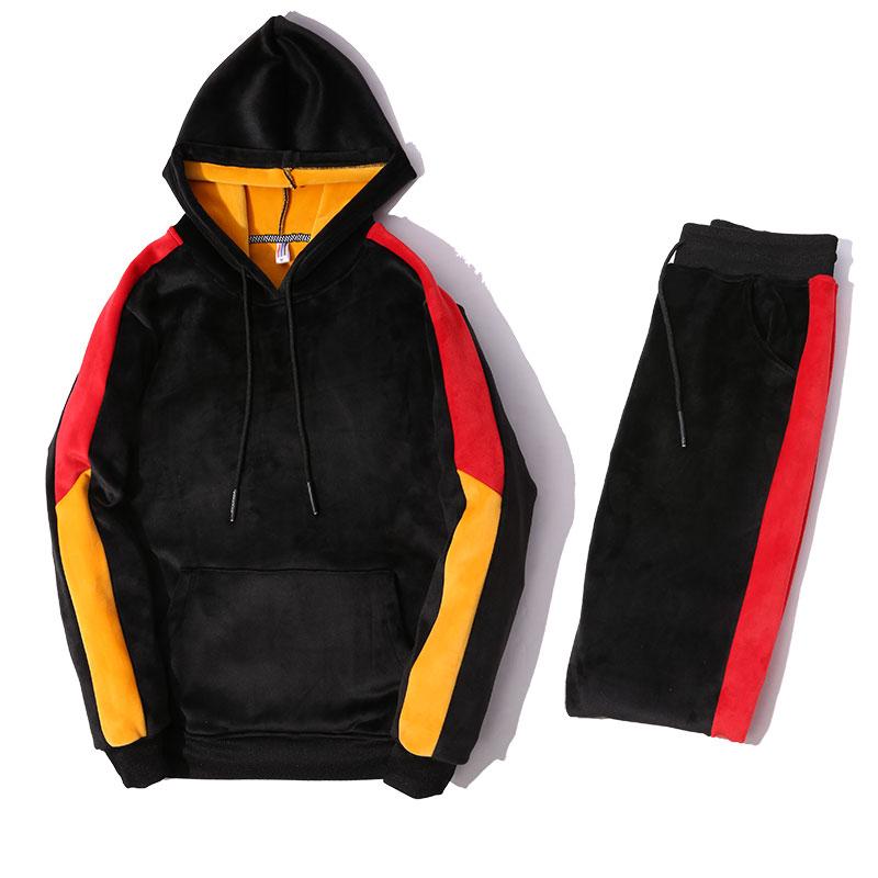 2019 Male Sporting Suits Winter Gold Velvet Tracksuit Men's Sportswear Sets Thick Fleece Warm Hoodies + Pants Oversized M-3XL
