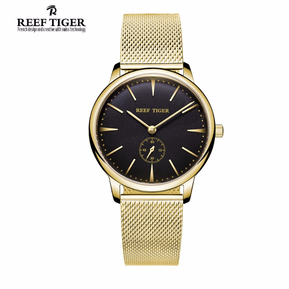 Reef Tiger/RT Luxury Couple Watches for Men Women Yellow Gold Watches Analog Quartz Ultra Thin Watches RGA820 2x yongnuo yn600ex rt yn e3 rt master flash speedlite for canon rt radio trigger system st e3 rt 600ex rt 5d3 7d 6d 70d 60d 5d