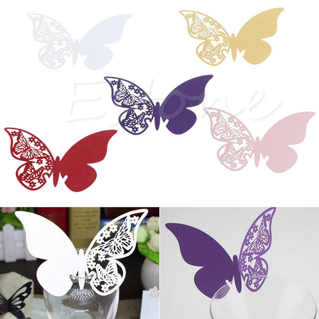 50X Wine Glass Table Mark Butterfly Pattern Name Place Cards Party Wedding  Decor