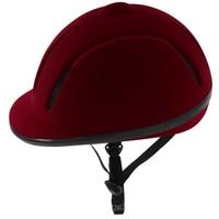 CE soft equestrian helmet wine red flock horse riding helmet with ABS EPS shell velent liner