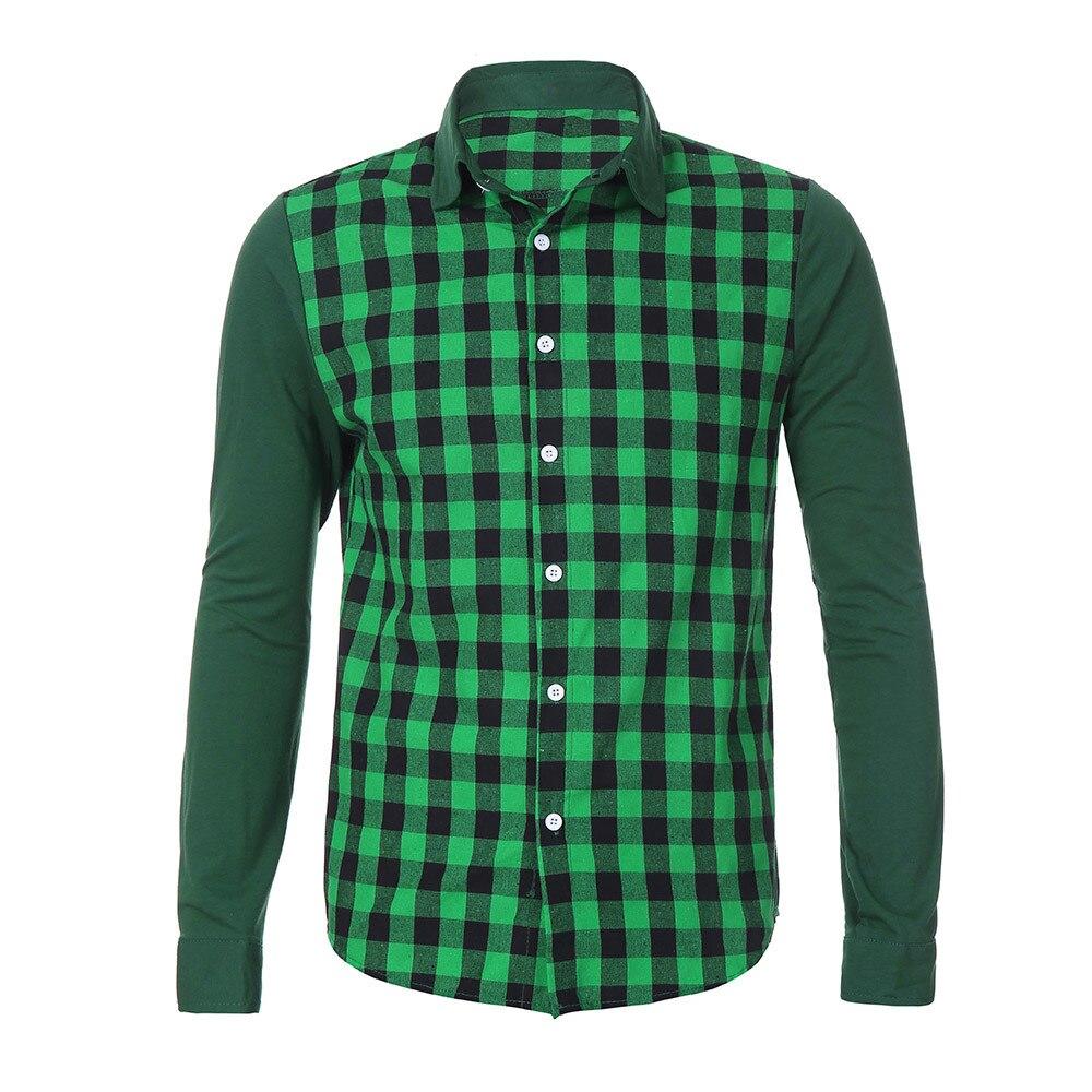 415817944a8 Fashion Print Plaid Casual Long Sleeve Shirt Blouse men clothes 2018 ...