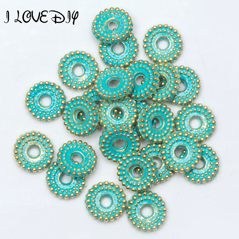 Diligent 6mm/8mm 100 Pcs/lot Vintage Green And Gold Wheel Pattern Bead Tibetan Silver Spacer Beads For Bracelet Jewelry Making Pleasant In After-Taste Beads & Jewelry Making