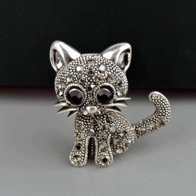 Cute Little Cat Brooches Pin Up Jewelry For Women Suit Hats Clips Corsages Brand Bijoux Brooch Bijouterie