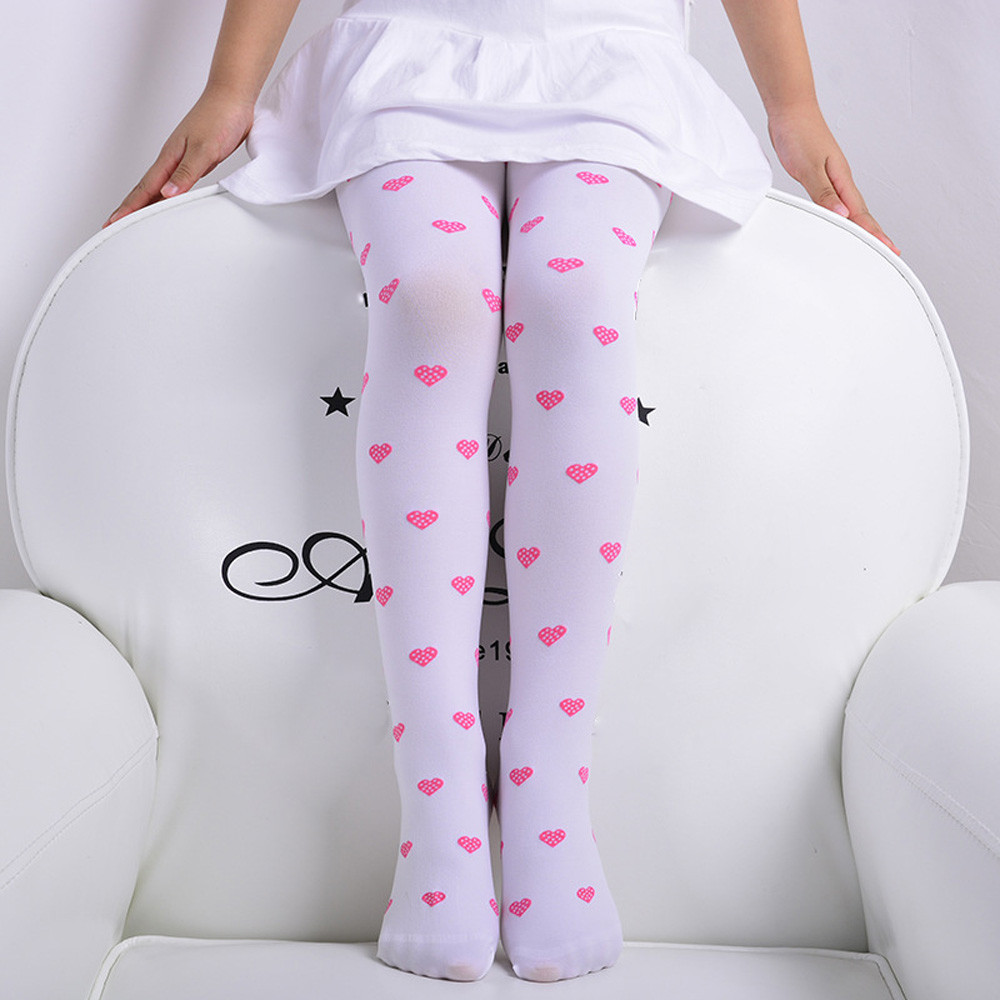ARLONEET Cute Lovely Child Girls Footed Heart Dots Tights Stockings Ballet Candy Colorful Opaque Velvet Stocking Pantyhose heart pattern side pantyhose stockings