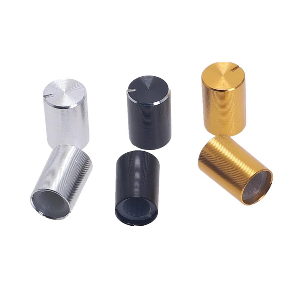 10Pcs Aluminum Volume Control Rotary Knobs Black For 6mm Dia Knurled Shaft Potentiometer 10x14