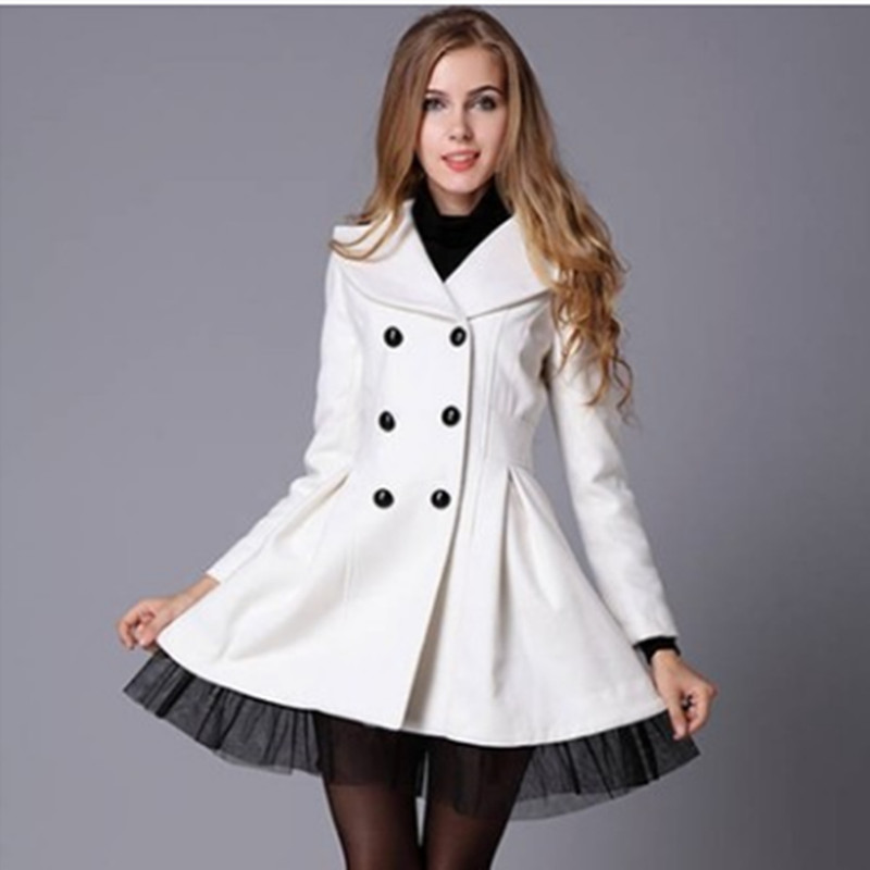 Imitate Wool Double-Breasted Big Coat Hem Yarn Lace Splice Fashion Women Coat Jacket Women Winter Warm Slim Overcoat AQ858439