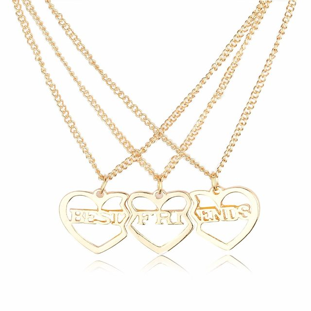 Online shop 3 piecesset best friend heart couple pendant necklaces 3 piecesset best friend heart couple pendant necklaces hollow letter bff hippie jewelry accessories collares mozeypictures Images
