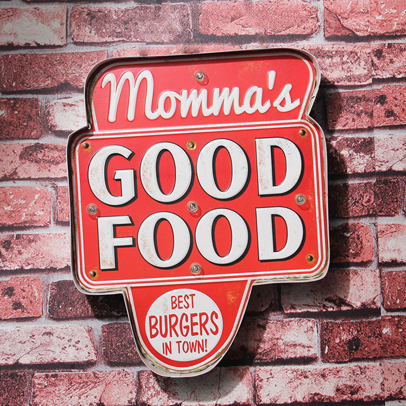 Best Burgers in Town LED Neon Lamp Metal Tin Sign Momma's Good Food Advertising Board Retro Art Wall Decor for Shop Bar Pub Club