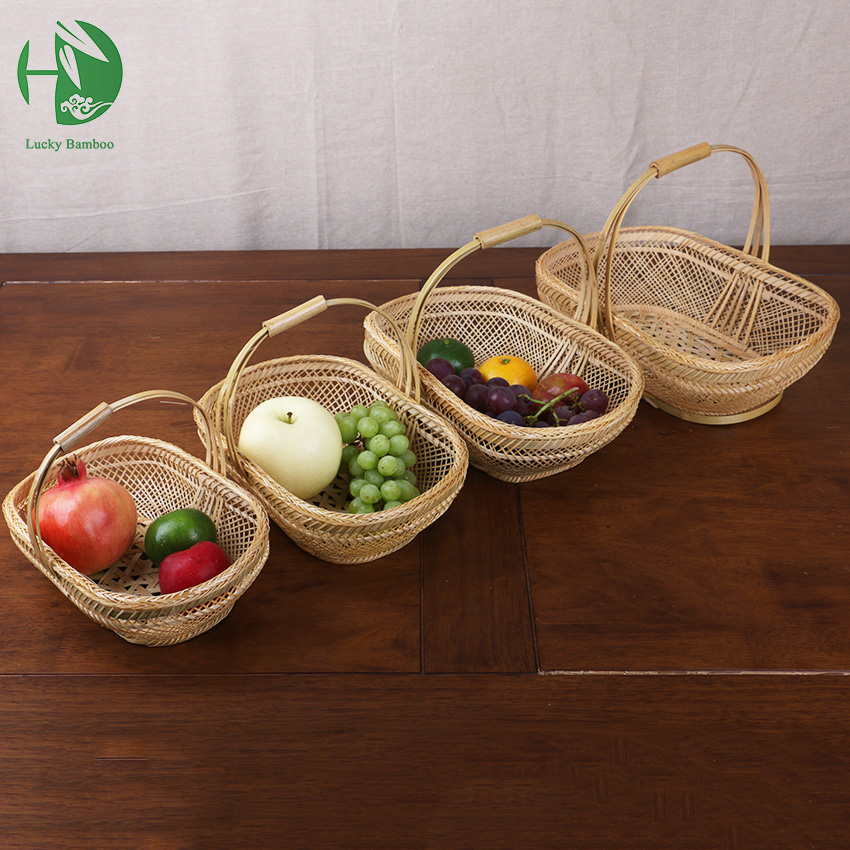 bamboo small fruit baskest for storage with handle handmade woven