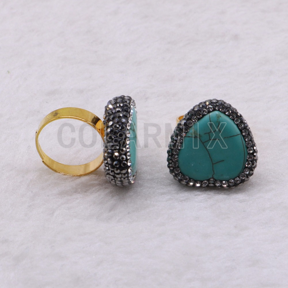 High quality metal rings pave rhinestone &blue stone rings fashion jewelry rings Wholesale blue stone jewerly 3676