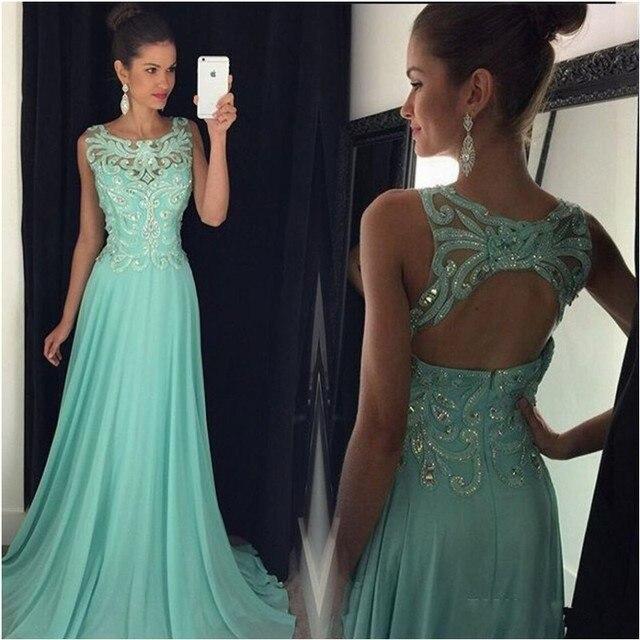 1a947184f Menta verde largo de gasa vestidos 2016 vestido de fiesta Sexy espalda  abierta barato gasa vestido