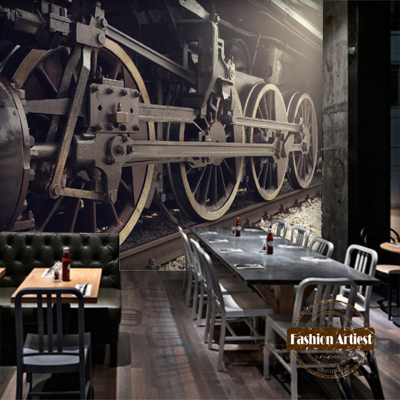 Aliexpress Buy Custom 3d Vintage Wallpaper Mural Steam Locomotive Train Machinery Tv Sofa Bedroom Living Room Cafe Bar Restaurant Background From