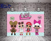 KATE 5x7ft Photo Background Cartoon Lol Surpresa Dolls For Kids Birthday Pink Children Photocall Birthday For