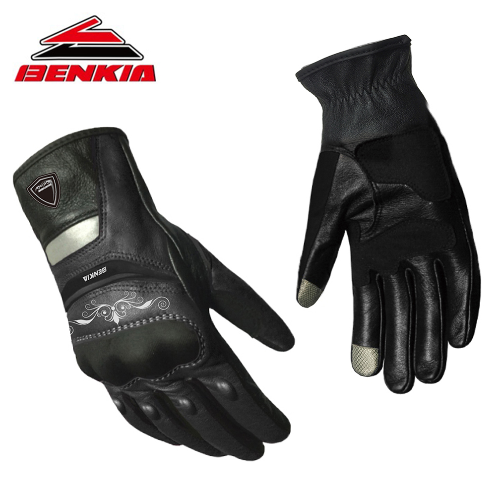 BENKIA Motorcycel Gloves Touch Screen Racing Genuine Leather Motorbike Gloves For Women Motorcycle Racing Full Finger Gloves mad 01s professional full finger racing gloves red black size l