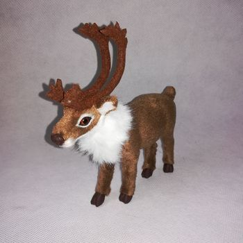 About 15x14cm plastic&furs brown sika deer hard model artificial moose craft home decoration toy gift w0255 фото