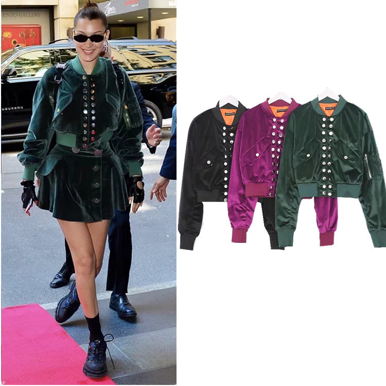 Women Double Breasted High Quality Fashion Slim Velours Cropped Thick Bomber Jacket Flight Coat