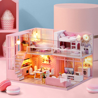 CUTE ROOM DIY miniature Wooden Doll house Furniture Dust Cover Dollhouse Kit House Model Toys For Children Christmas Gift L025