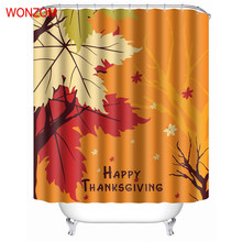 WONZOM Leaves Shower Curtains with 12 Hooks For Bathroom Decor Modern Landscape Bath Waterproof Curtain Gift