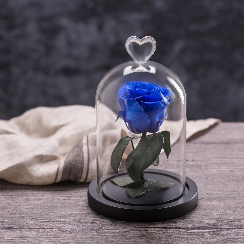 Вечный цветок розы с любовью стекло черный чехол искусственный цветок подарок на год Валентина Рождество Gif хорошее украшение дома - Цвет: Blue rose