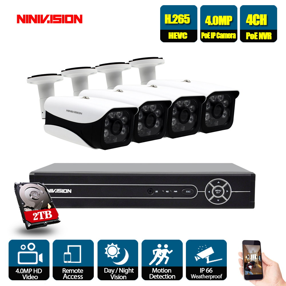 H.265 5MP 2592*1944 Surveillance CCTV System 48V PoE 4CH NVR Kit 4.0MP HD Bullet Waterproof indoor Outdoor CCTV Camera System-in Surveillance System from Security & Protection