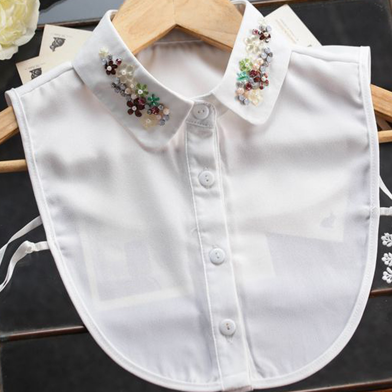 Fashion sweater high-quality   Blouse     Shirt   detachable Autumn winter Wild Shaped Pearls Crystal Necklace Vest   Blouse   fake collar