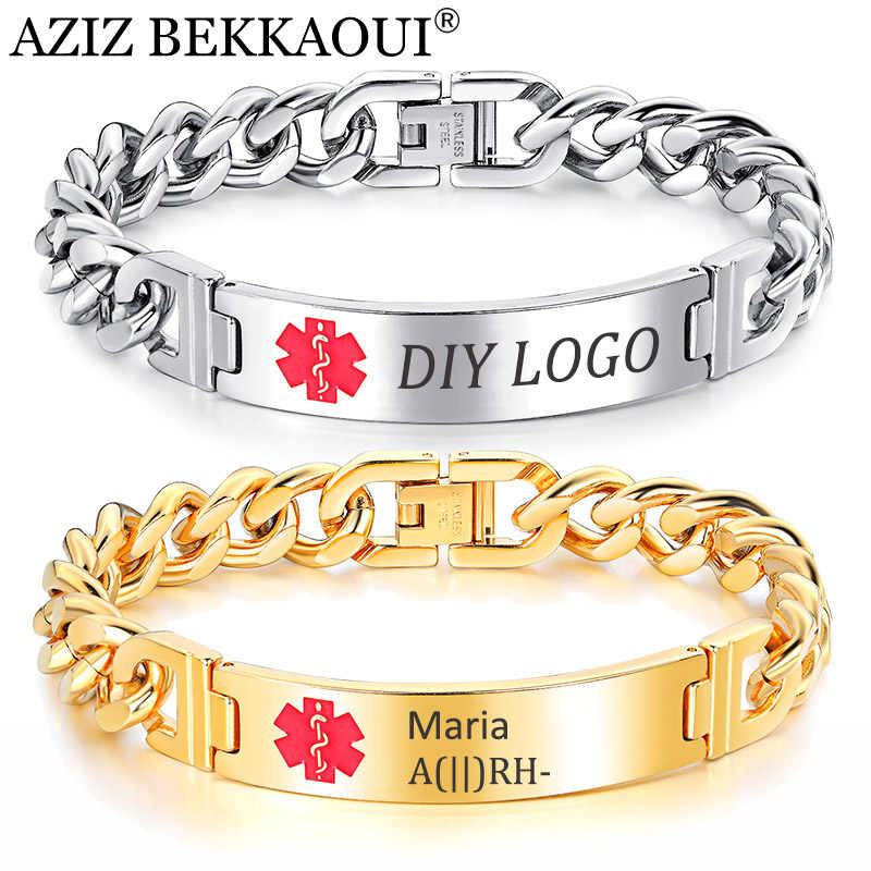 AZIZ BEKKAOUI Engrave Name Medical Alert Bracelets Medical Identification ID Stainless Steel Bracelets Bangles Customize Jewelry