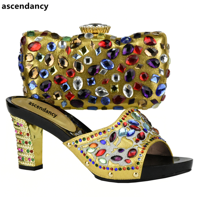 Gold Italian Shoe Bag Set Shoes With Matching Bags African And