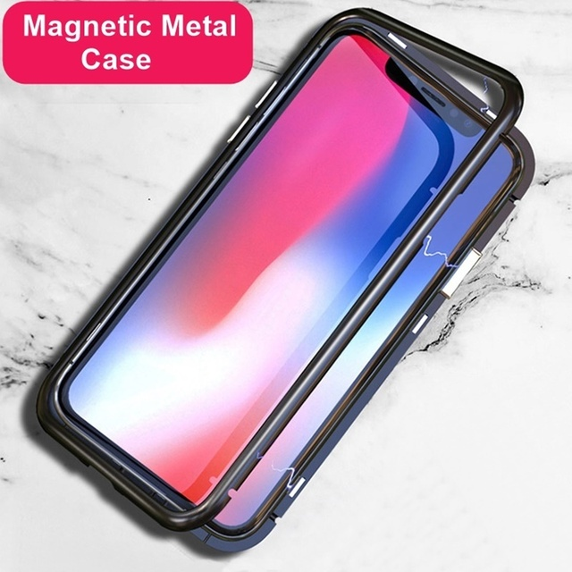 separation shoes f9a81 44771 Magnetic Adsorption Phone Case For Iphone XS Max XR 2018 Metal Case Ultra  Thin Tempered Glass Cover For iPhone X 8 7 6
