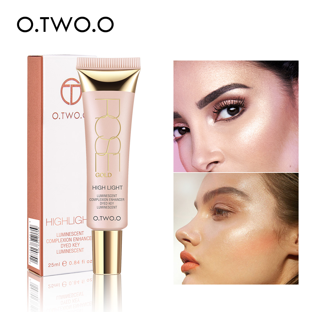 O.TWO.O Shimmer Highlighter Cream 25ml Primer Base Contouring Concealer Highlight Whitening Moisturizer Oil-control Cosmetics
