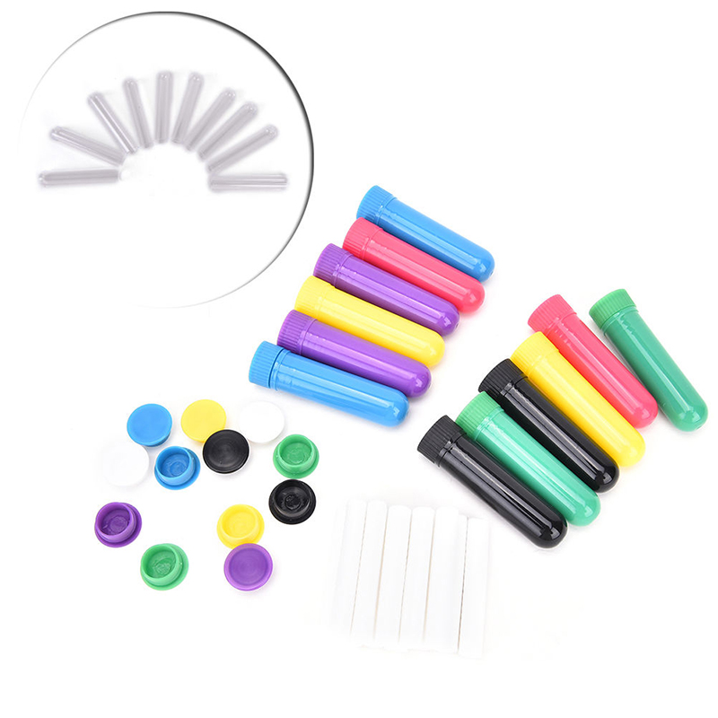 10Pcs/set Blank Nasal Aromatherapy Inhalers Tubes Sticks With Wicks For Essential Oil Nose Nasal Container