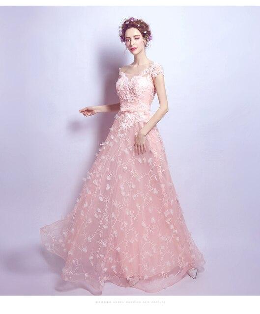 2017 Moda de encaje de Color Rosa pétalo Vestido de cena de Noche de ...
