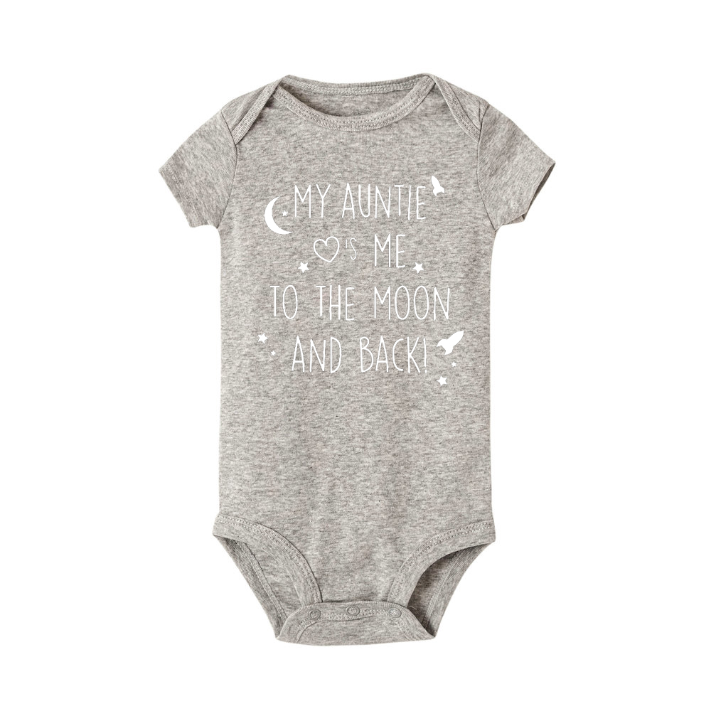 My Auntie Loves Me Printed Baby Girl Boy Romper Bodysuit Short Sleeve Outfits