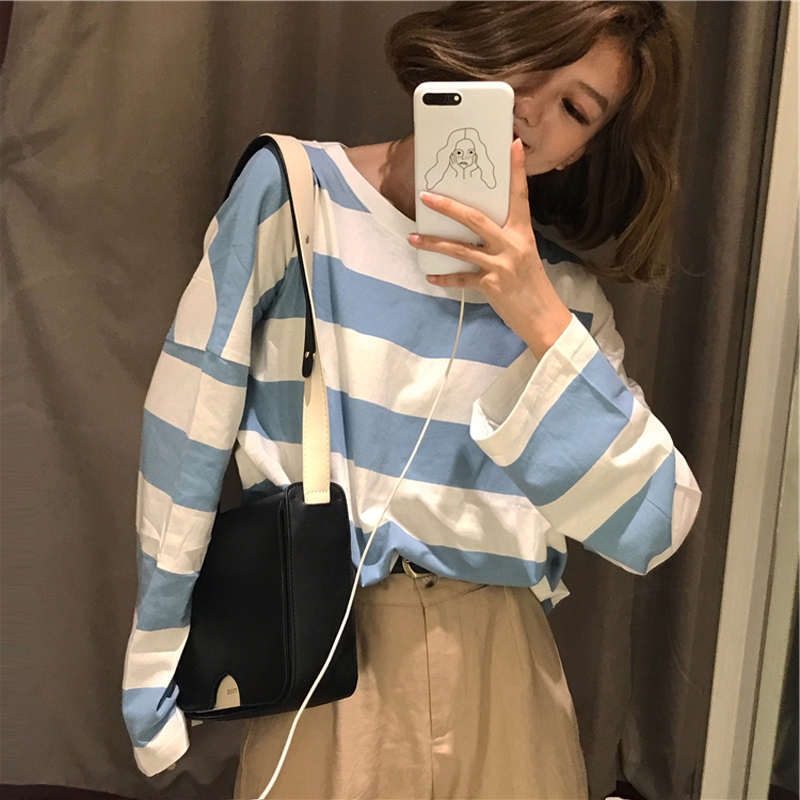 Harajuku camisetas de manga longa coreano listra oversized t camisa outono ulzzang kawaii rosa azul preto básico t casual topos