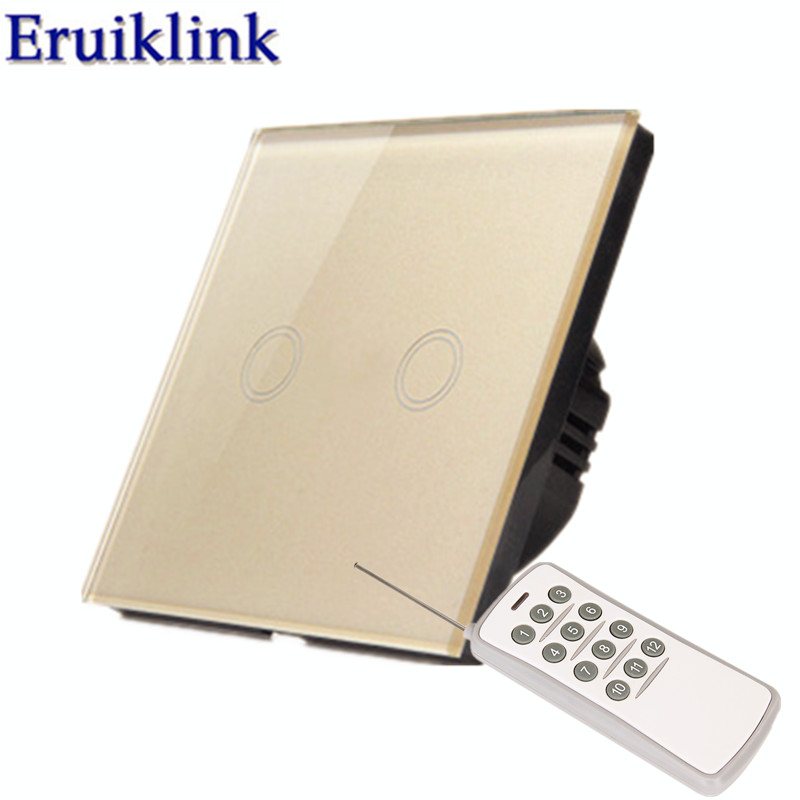 EU/UK 1/2/3 Gang 1 Way Remote control Light Switch,Gold Crystal Glass Panel Touch Switch+LED Indicator For RF433 Smart Home
