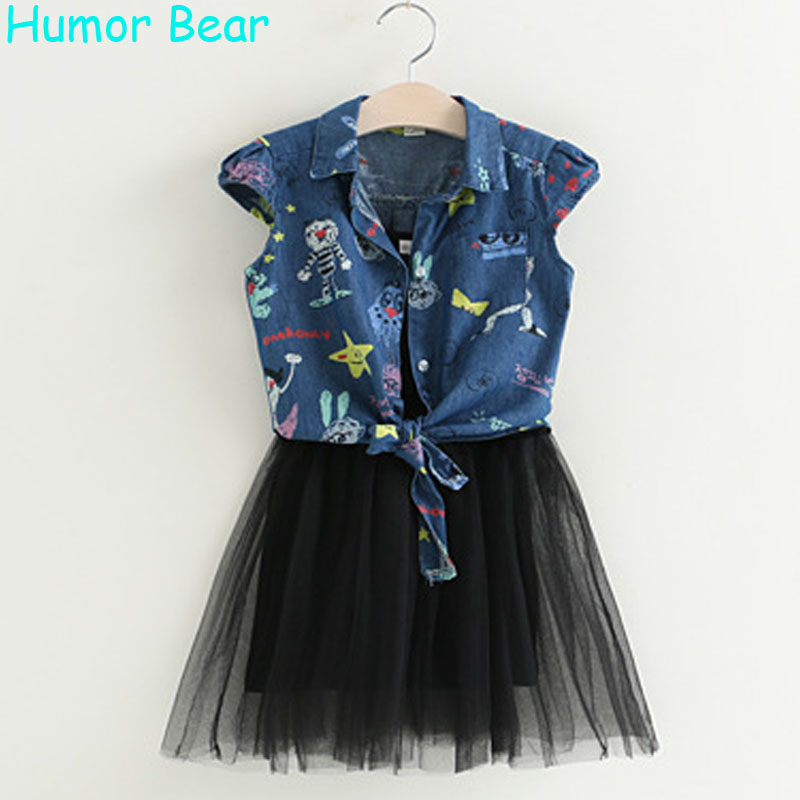 Humor Bear Girls Dress 2017 New Summer Fashion Princess Dress Children Clothing Denim Cartoon Jacket+ Dress Kids Dresses 3-7Y 2017 new fashion brand summer kids clothes children clothing girls dress baby kids princess dress summer denim holiday sundress