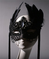 Black half face beauty god tassel feather horn mask party annual meeting Christmas party banquet mask