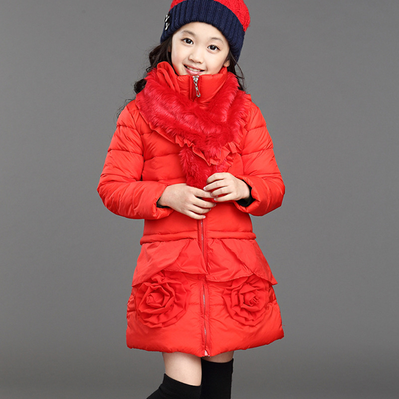 2017 Children Winter Warm Outerwear Girls Christmas School Cute Winter Warm Snow Proof Cotton-padded Jacket Kid Clothes Parkas 2017 winter children cotton padded parkas clothes baby girls