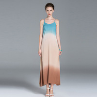 High Quality 2017 Summer Spaghetti Strap Backless Runway Maxi Dress Sundress Women S Gradient Color Cotton