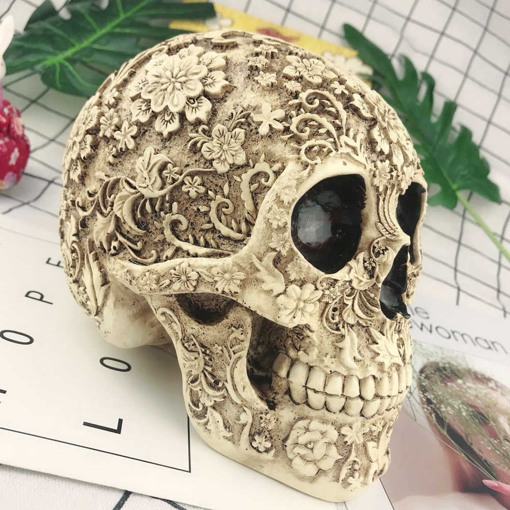 1:1 levensgrote schedel Horror Tafel Grade Decoratieve Craft Menselijk Hars Schedel Bone Skeletten Halloween Decoratie Bloem Ornamenten