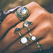 6 pieces / set of retro opal ring female bohemian antique gold and silver color knuckle fashion ball jewelry