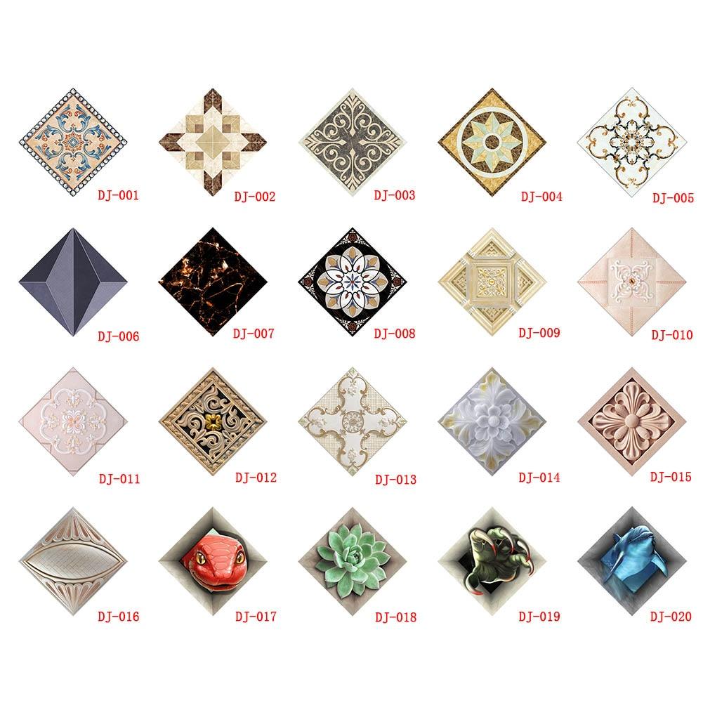 10 pcs set ceramic tile stickers self adhesive tiles art diagonal 3d floor stickers for living. Black Bedroom Furniture Sets. Home Design Ideas