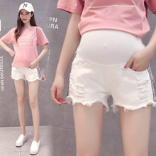 2019 summer pregnancy thin shorts maternity white hole denim shorts fashion side ribbon pregnant women stomach lift shorts summer casual loose maternity shorts low elastic waist side white strip pregnancy short pants stomach lift pregnant shorts