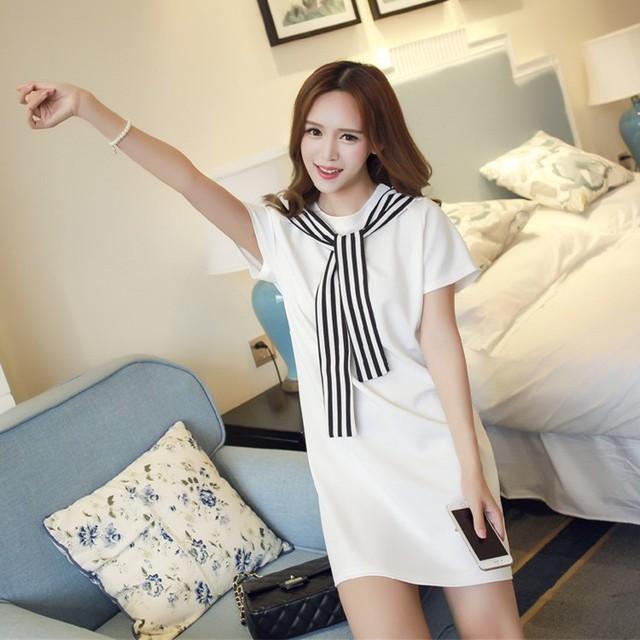 a2723f6ac252 4xl plus big size women clothing dress 2016 summer style korean vestidos cute  harajuku kawaii stitch college dress female A0361