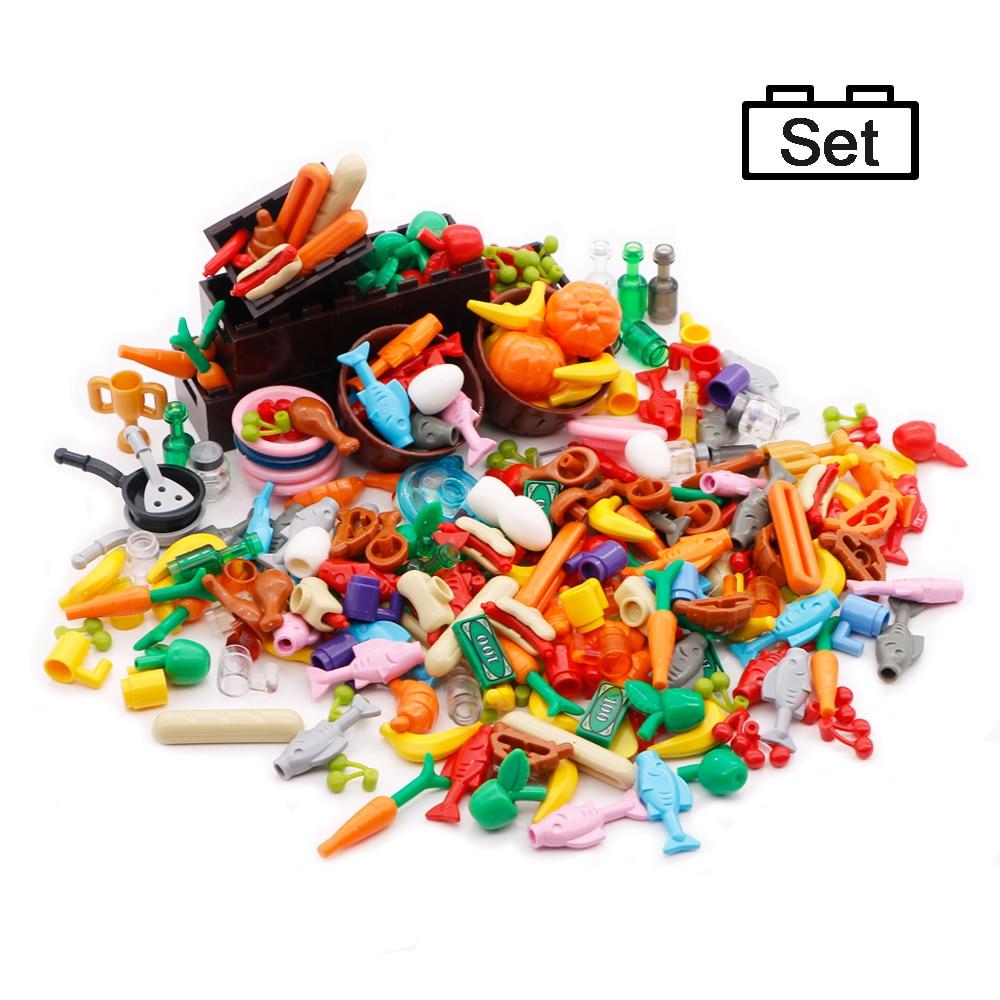 Legoinglys comida cidade acessórios amigos moc blocos de construção conjunto bebidas frutas vegetais pão peixe garrafa peças moc tijolos brinquedos